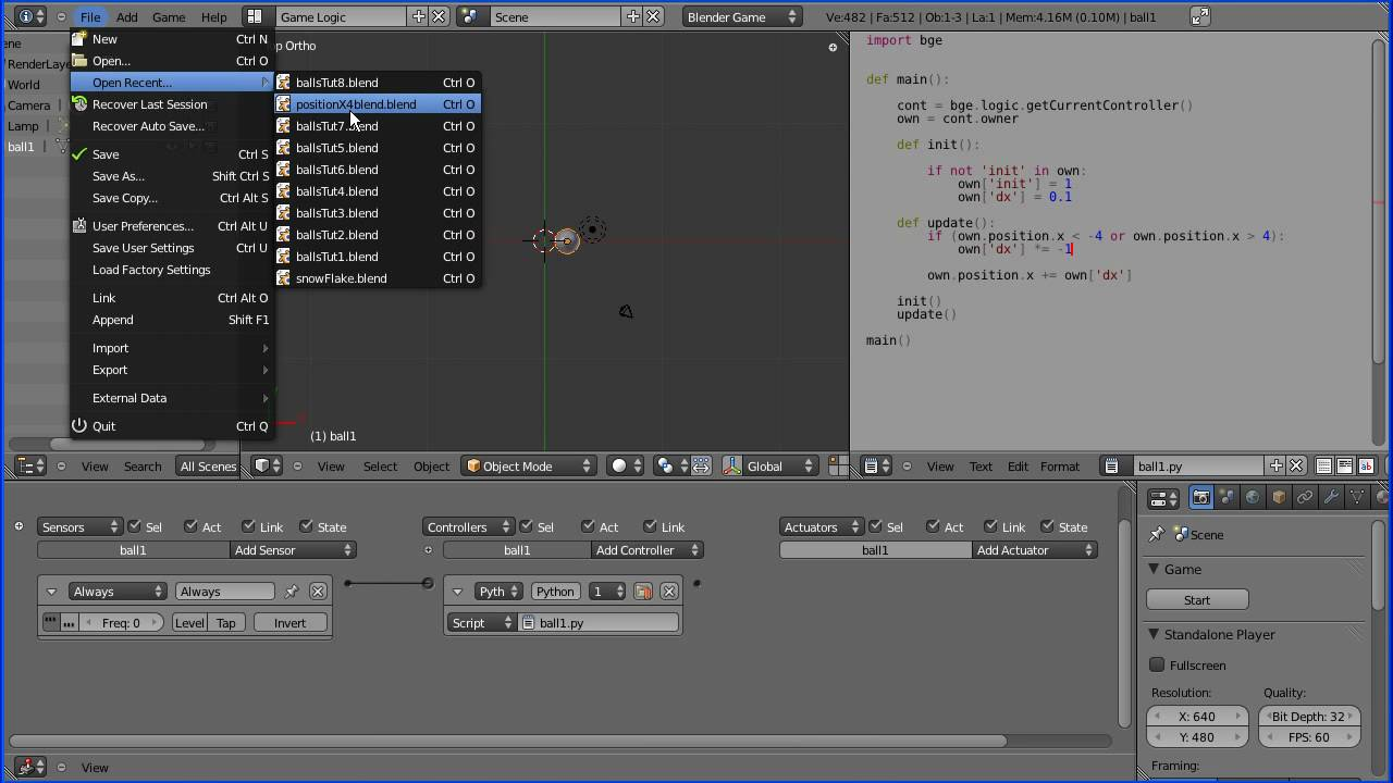 Introduction to Python Scripting with the Blender Game Engine, Moving  Spheres in 3D, Bouncing Balls