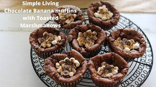 Vegan Double chocolate Toasted Marshmallow Muffins