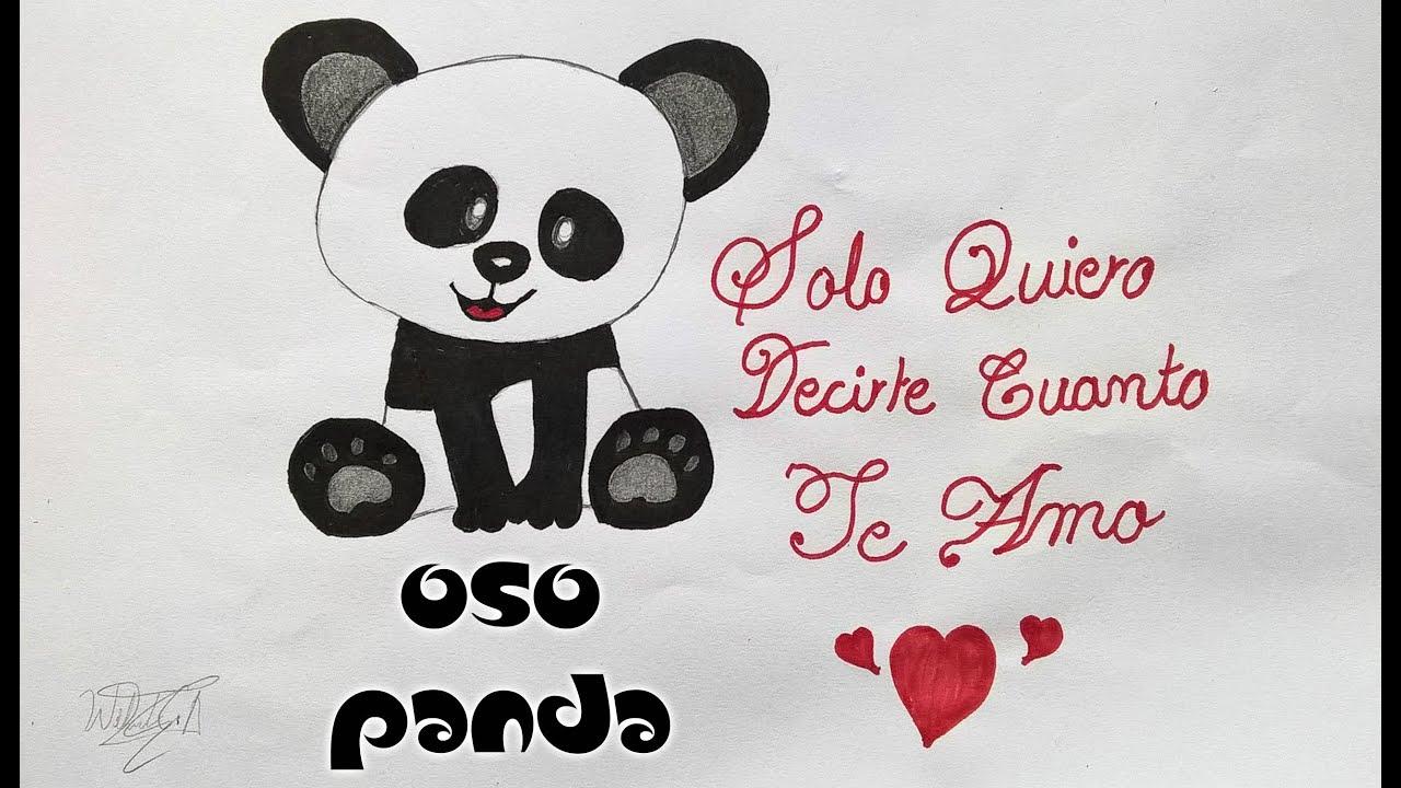 Como dibujar un oso panda  detalle romantico  How to draw a