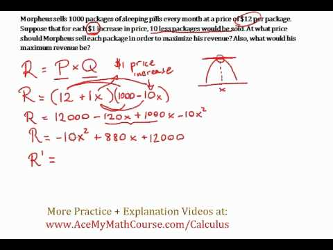 revenue maximizing 1 optimization word problem calculus quick explanation youtube. Black Bedroom Furniture Sets. Home Design Ideas