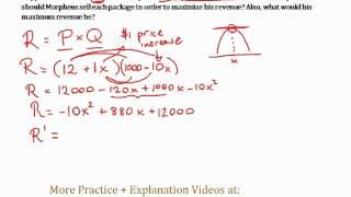 Repeat youtube video Revenue Maximizing #1 - Optimization Word Problem (Calculus) - Quick Explanation!