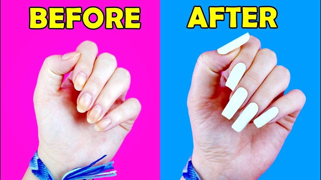 HOW TO MAKE FAKE NAILS WITH HOME MATERIALS #2 ( Without Nail Glue) - AMAZING NAIL TRANSFORMATION