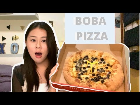 Boba Pizza Review (中文字幕) 珍珠奶茶 pizza - YouTube