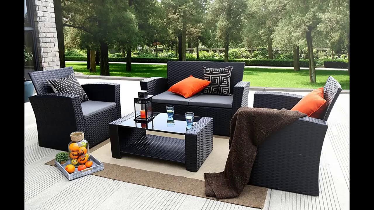 Baner Garden (N87) 4 Pieces Outdoor Furniture Complete Patio Cushion Wicker  P.E Rattan Garden Set