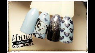 🐶 милый ЩЕНОК на ногтях 🐶 СОБАКА на ногтях 🐶 ГРАДИЕНТ блесками 🐶 Дизайн ногтей гель лаком 🐶