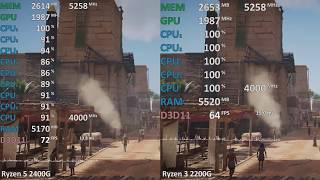 Ryzen 3 2200G vs Ryzen 5 2400G in 8 Games. CPU Test Overclocked to 4.0Ghz (GTX 1080)