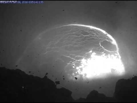 Early morning explosive event at Kilauea summit lava lake