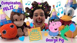 Cumpleaños Sorpresa para George Pig y de sus Amigos Peluches  Video para niños en español