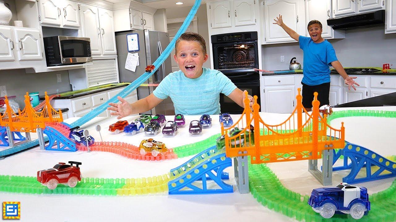 Giant Magic Tracks Bridge Adventure in Our House!!