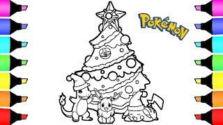 Pokemon Christmas Coloring Pages Colouring For Kids Youtube
