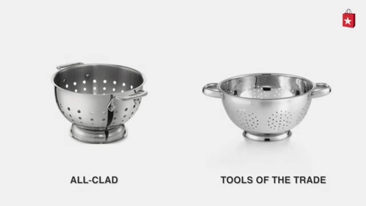 allclad stainless steel 5 qt colander comparison video