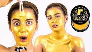 Корейская маска для лица из чистого золота 😲 Золотая маска 24K GOLD WRAPPING MASK 🌴 POLI NA PALME