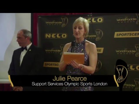 Julie Pearce presenting the 2015 Sportswoman of the Year