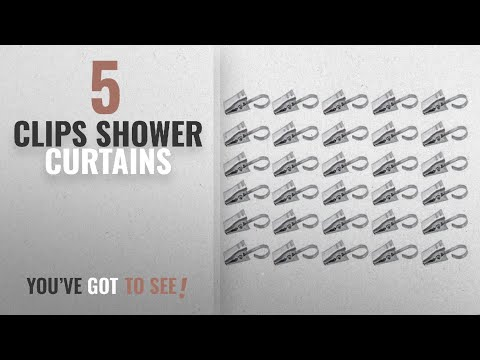 Top 10 Clips Shower Curtains [2018]: Yueton Pack of 30 Stainless Steel Clips w/ Hook for Curtain,