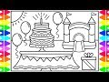 How to Draw a Birthday Party Cake for Kids 💜💚💙Birthday Party Cake Drawing and Coloring Pages