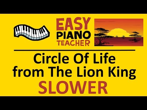 How to play Circle Of Life from the Lion King: EASY keyboard song!(Piano tutorial SLOW & note names)