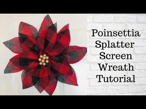 Poinsettia Christmas Dollar Tree Splatter Screen DIY Wreath