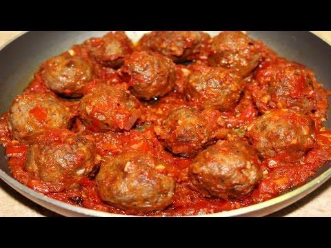 طريقة عمل كرات الكفتة المحمرة مع صلصة الطماطم و البصل و الثوم