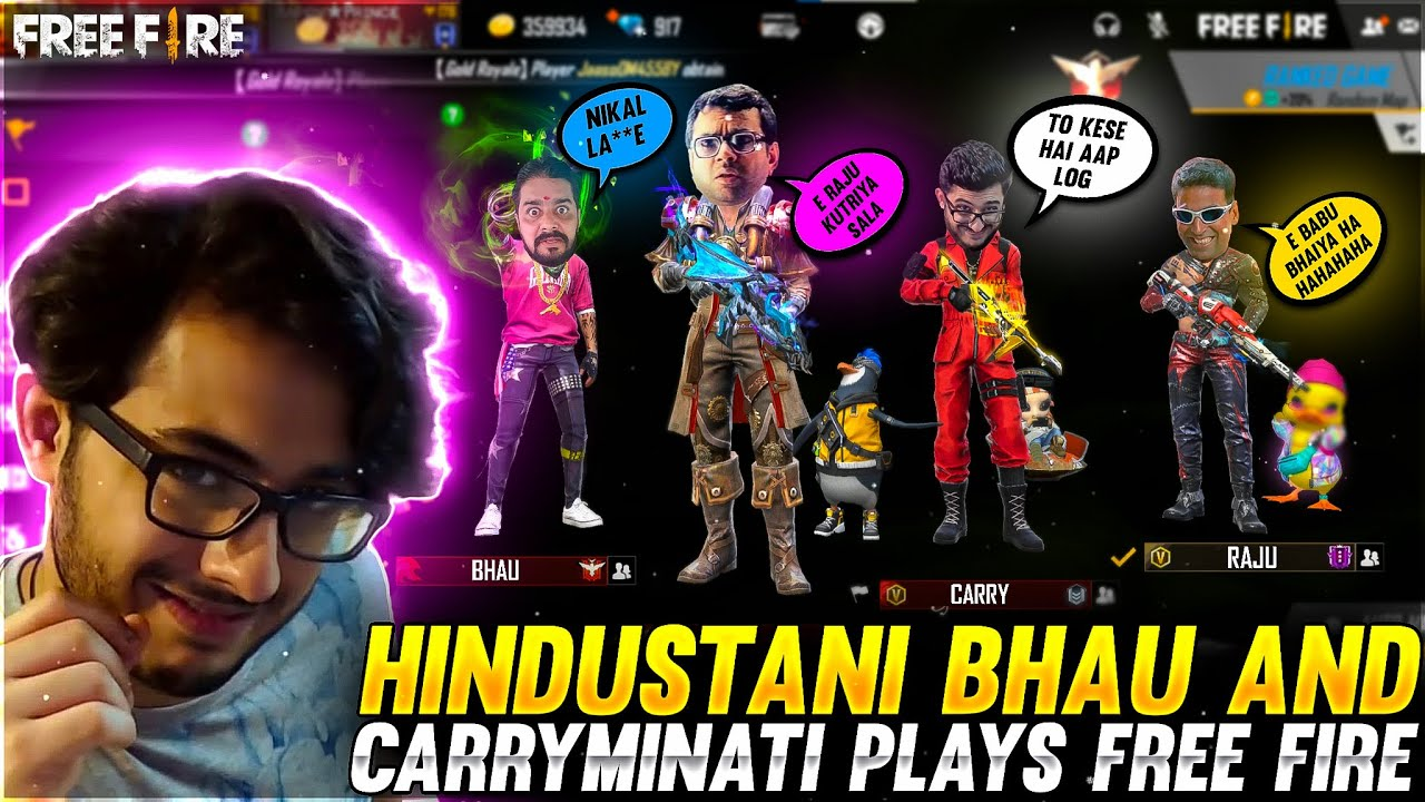 Carryminati and Hindustani Bhau😱 Playing free fire - Garena Free Fire
