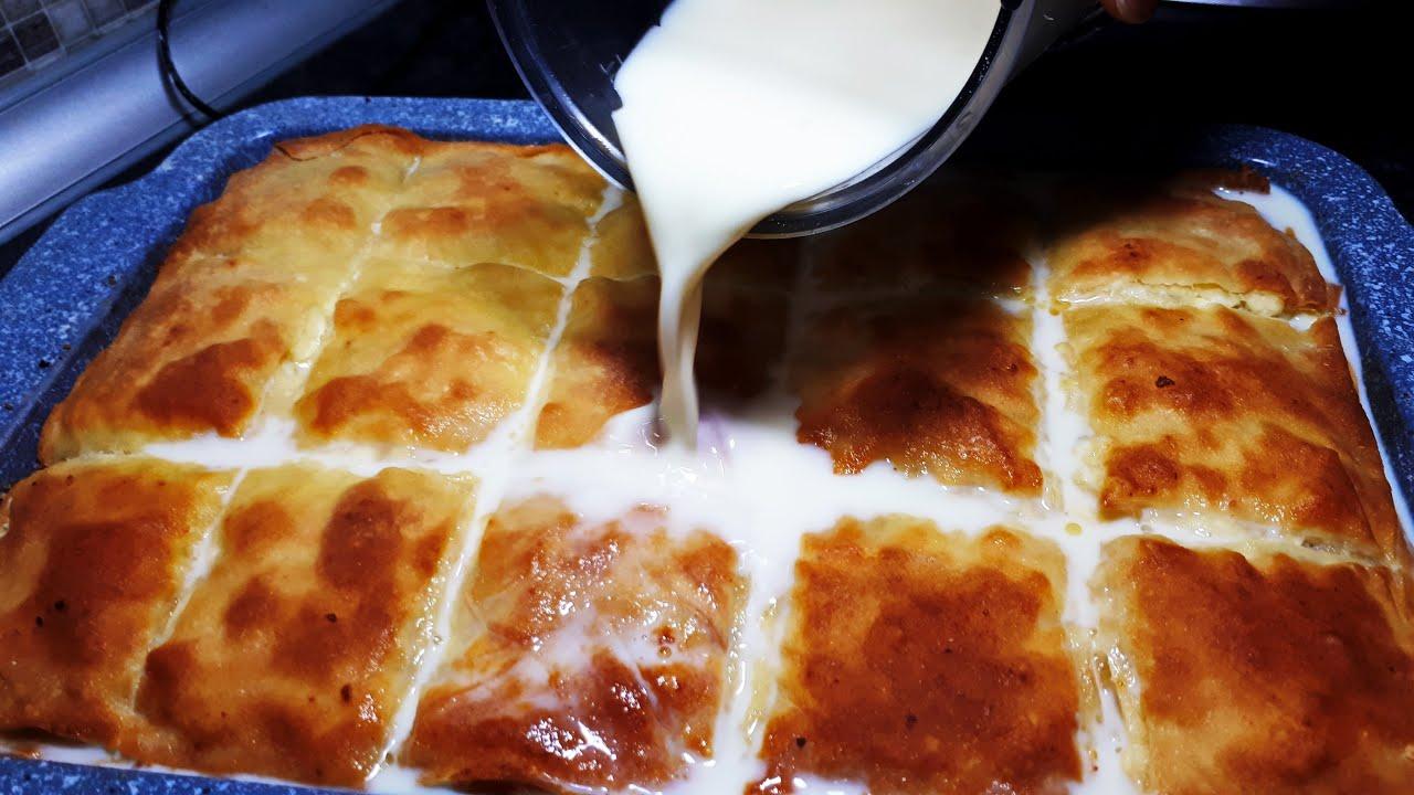 Я ЗАЛИВАЮ МОЛОКОМ ПИРОГ В ДУХОВКЕ ПРОСТАЯ СЛОИСТАЯ ВЫПЕЧКА С НАЧИНКОЙ Новые Слойки| I Pour Milk Cake