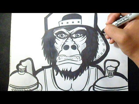Cmo dibujar un Gorila Diseo 2 Graffiti  YouTube