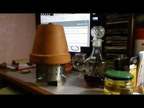 Печка из цветочного горшка с дымоходом и масленным топливом