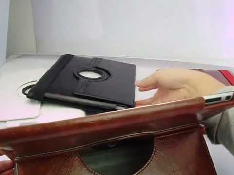 360° Rotating IPad 2 Leather Smart Cover Case Brown
