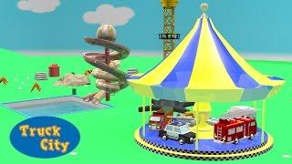 Truck City | Merry-go-round: fire truck, police car, bulldozer | Cartoon for children 3D
