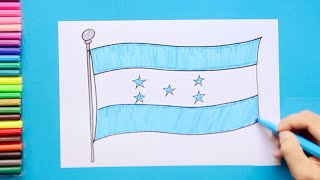 How to draw and color National Flag of Honduras