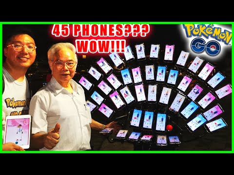70 YEARS OLD GRANDPA USES 45 PHONES TO PLAY POKEMON GO - POKÉMON GO