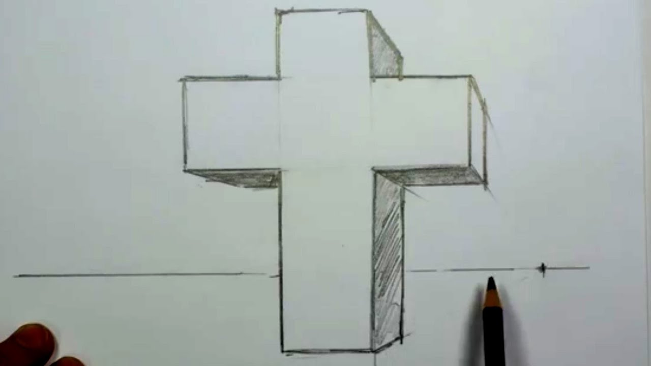 how to draw a 3d cross in one point perspective mat youtube