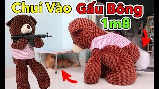 Lâm Vlog - Thử Chui Vào Trong Gấu Bông Teddy 1m8 và Đi Hù Người Khác | Teddy Bear Troll