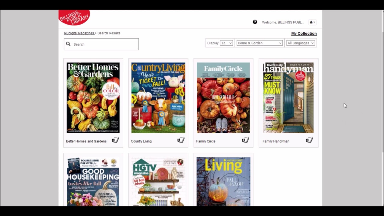Billings Public Library online magazines with RBdigital