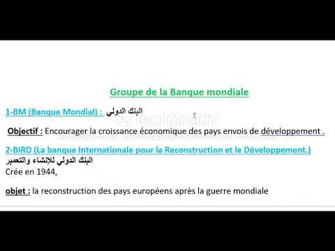 environnement international : les institutions marocains et groupe de la banque mondial tsc