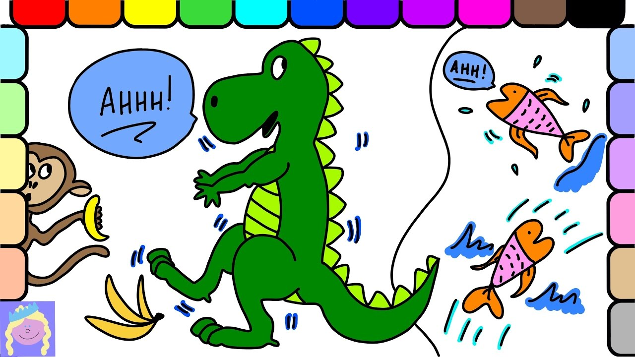 Learn How To Draw And Color A Dinosaur With This Fun Drawing And ...
