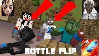 Monster School  Bottle Flip Challenge Vs Granny And Momo - Minecraft Animation