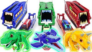 Dino Mecard Green, Blue, Red Car Shooter! Capture and Tiny dinosaurs fire!! - DuDuPopTOY