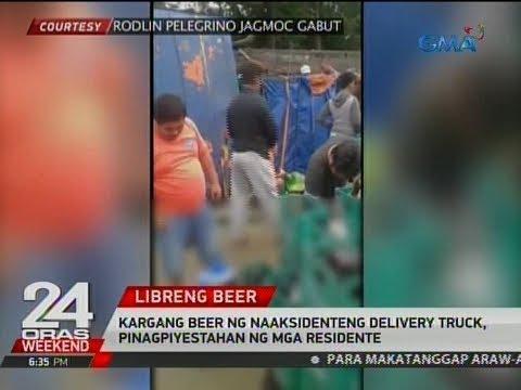 24 Oras: Kargang beer ng naaksidenteng delivery truck, pinagpiyestahan ng mga residente
