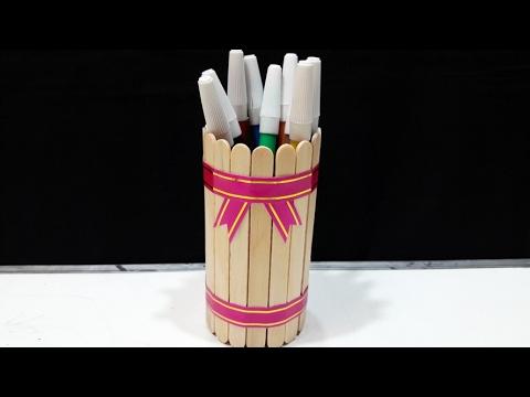 Membuat Tempat Pensil & Pulpen Dari Kaleng Bekas & Stik Eskrim (DIY)