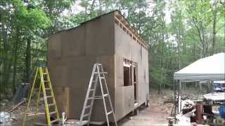 Putting Sheathing On My Tiny Home And Its Raining