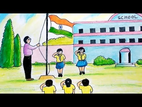easy-drawing-of-independence-day-celebrations-at-school-|independence-day-flag-hosting-drawing