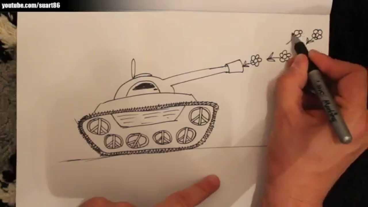 Como dibujar un tanque de guerra - YouTube