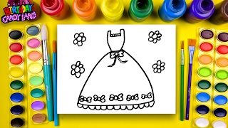 Learn to Color for Kids and Hand Color this Beautiful Teal Princess Dress Coloring Page