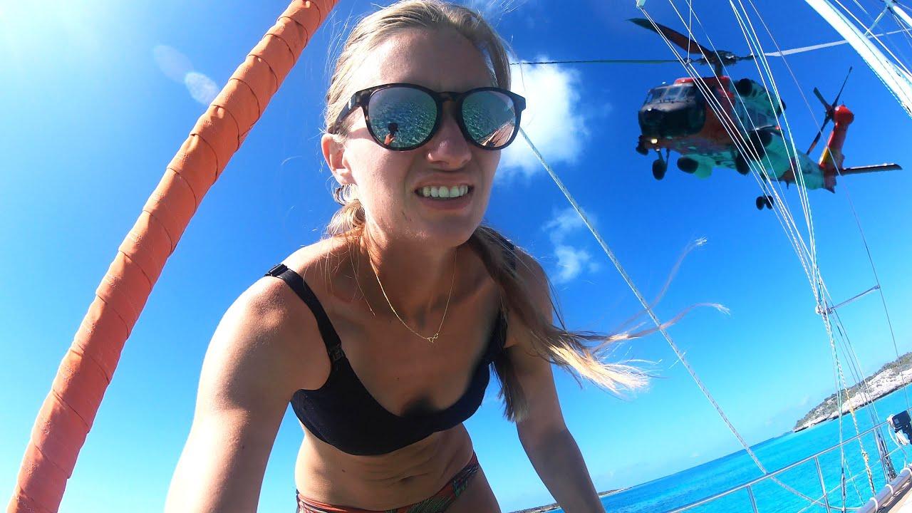Buzzed by the US COASTGUARD chopper! - Sailing Vessel Delos Ep. 278