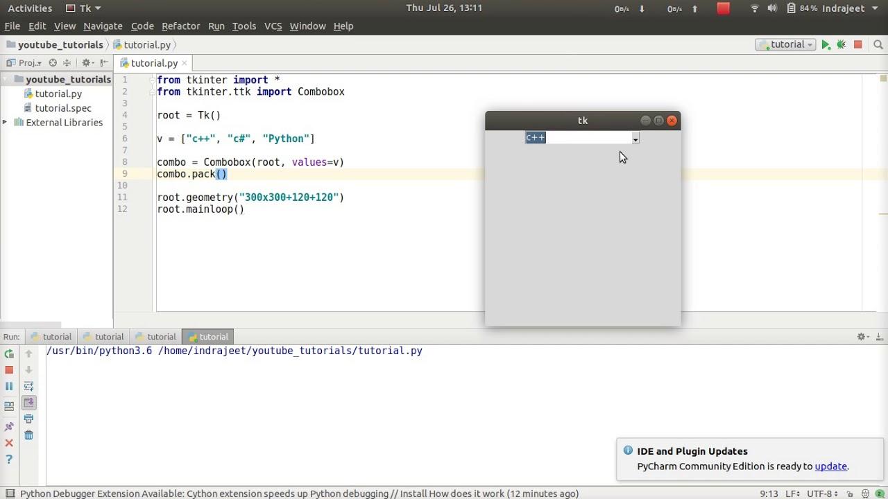 Python GUI Tutorial - 28 - Combobox - part 1