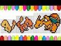How To Draw Pokemon 8 Bit - Charmander, Charmeleon And Charizard