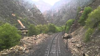 Traveling west through Glenwood Canyon in Colorado aboard Amtrak