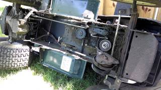 How to Change Replace Main Transmission Drive Belt Craftsman Lawn Mower Tractor Electric Clutch thumbnail