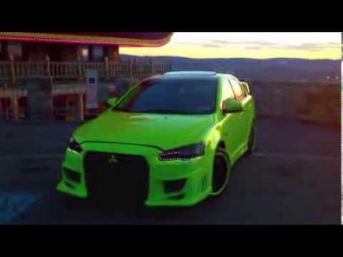 lancer evo lime green vinyl wrap wbody kit and led lights video youtube