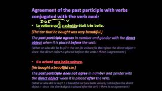 Agreement of the past participle with verbs conjugated with the verb avoir